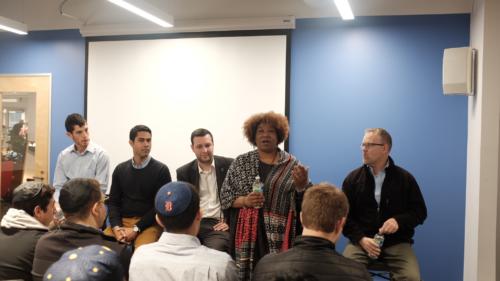 """Delphia Simmons, Build Basics facilitator, speaking on the """"Meet the Social Entrepreneurs"""" panel."""